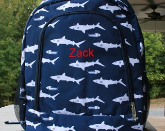 Boys Monogrammed Shark Backpack Boys Navy BookBag