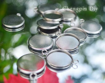 20pcs Round Bezel Cups - Stainless Steel blank base - Bezel Pendant Blanks - Glass Cabochon Setting - Pendant Trays for jewelry making