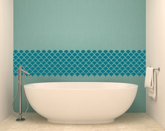 """Mermaid Scales Pattern 12""""x12"""" Tiles Vinyl Wall Decal Graphic Bathroom Home Decor"""