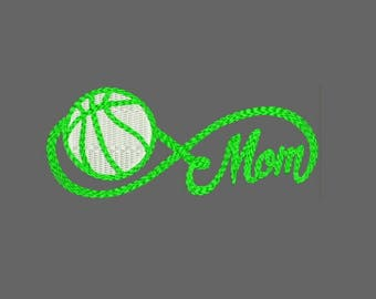 Infinity Sports Mom with Basketball Machine Embroidery Designs - Instant Download Applique Embroidery Design 319 C