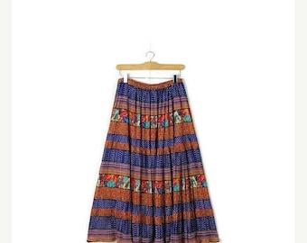 ON SALE Vintage Saks Fifth Avenue Floral/Stripe/Polka dots Long Flare Skirt from 1980's