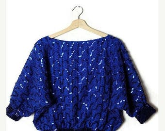 ON SALE Vintage Vivid Blue Sequin Bat Sleeve  Blouse from 1980's*