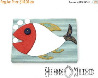 ON SALE 33 % DECORATIVE Wall Mirror, Fish shaped mirror, Perfect gift for fish lover, Nautical Design, Home Decor, Colorful Fish Mirror, Mir