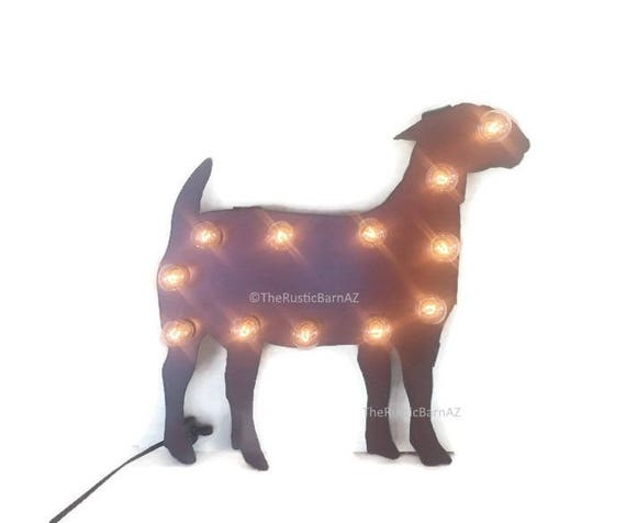 Show GOAT MARQUEE lighted sign made of Rusted Recycled Metal Vintage Inspired