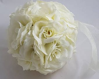"6"" Ivory Silk Wedding Pomander, Wedding Flower Balls, Flower Girl Kissing Ball,  Bouquet Alternative"