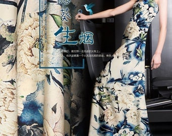 Large Floral Print Stretch Silk Satin Fabric for Fashion Apparel