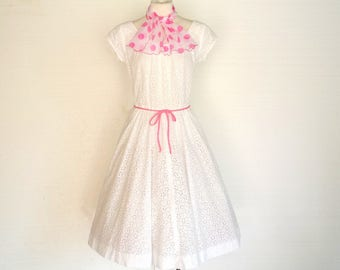 50s Dress Vintage White Cotton Eyelet Sundress Rockabilly Wedding LM to L Free Domestic and Discounted International Shipping