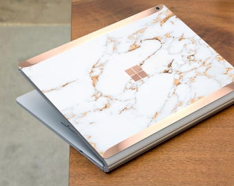 Bianco Sivec Gold Marble and Rose Gold Edge Vinyl Skin for Microsoft Surface Book , Surface Laptop , Surface Pro 2017  - Platinum Edition