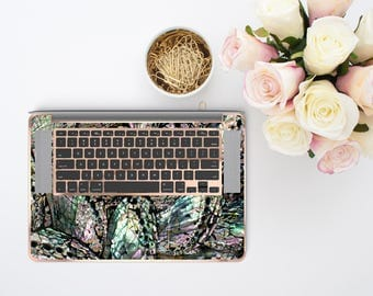 Abalone Shell Medley and Rose Gold Detailing Inner Keyboard Tray Vinyl Skin for Apple Air & Retina , Macbook Pro 2017 - Platinum Edition