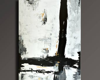 "54"" Large ORIGINAL ABSTRACT Painting Black White Gray Gold Painting Canvas Art Contemporary Modern Painting Wall Art - Unstretched- AB46i3"