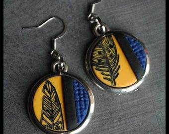 Black earrings / blue / yellow patterned polymer feather