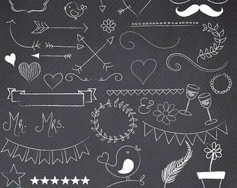 80% OFF SALE Chalkboard doodles clipart commercial use, vector graphics, digital clip art, digital images - CL684