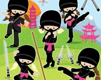 80% OFF SALE Ninja clipart commercial use, ninja girls vector graphics, karate digital clip art, ninja party digital images - CL1022