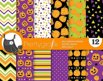 80% OFF SALE Halloween digital papers, Halloween scrapbook papers commercial use, witch scrapbook papers, background  - PS816