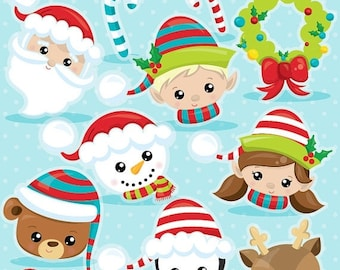 80% OFF SALE Christmas faces clipart commercial use, Christmas clipart, vector graphics, Santa digital clip art, Christmas images - CL1034