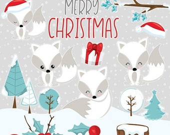80% OFF SALE Christmas Foxes clipart commercial use, White Fox clipart, christmas fox, woodland animals vector graphics, clip art - CL1046