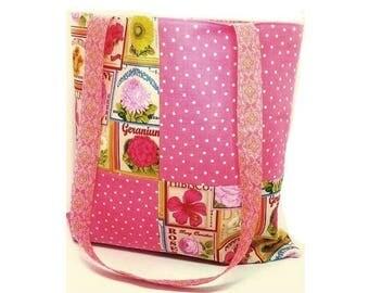Market Tote Bag, Large Shoulder Bag Pink, Seed Packet Design