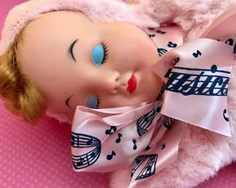 Vintage Antique Pink Plush Wind Up Musical Revolving Sleeping Baby Doll Rubber Faced