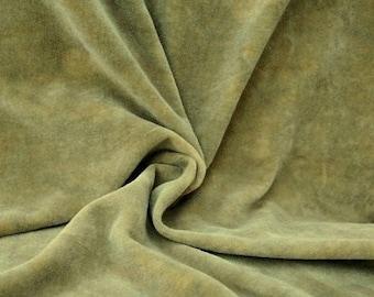"Hand-dyed Velvet - Sage Leaf Green - Fat Eighth 17"" x 10"""