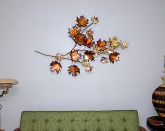 Large Curtis Jere Signed The Leaves Wall Sculpture