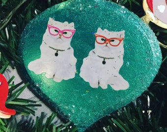 Twin white cats cat Adorable Christmas Ornament Wooden