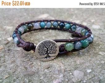 SUMMER SALE Moss agate single leather wrap bracelet celtic bracelet tree of life button earthy bracelet