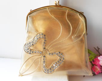 1950's Vintage Evening Bag, Mid-Century Bag, Double Handbag, Rhinestone Trim, Collectible, Gold Lame' EB-0305