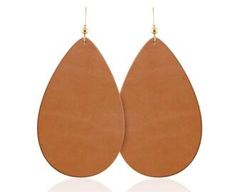 Leather earrings, tan leather teardrop earrings, leather teardrop earrings