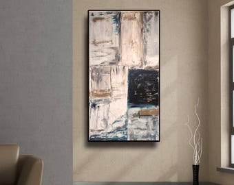 """48"""" Original Abstract painting acrylic wall art large modern art decor Gray Brown Turquoise Black Painting Wall Art AUL043"""
