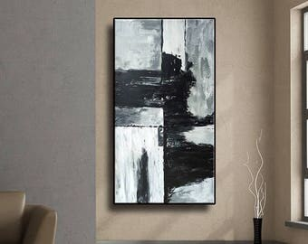 "48"" Original Abstract Painting Set of 2 Acrylic Large Painting Modern Black White Grey Wall Art AUL066"