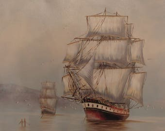 Original oil painting of a ship/boat by Peter