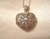 "Lovely Vintage Perfume Diffuser Necklace Heart Locket With Swarovski Crystals Sterling Silver 18"" Fine Chain"