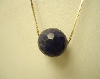 "Adorable Vintage Single Strung Faceted Sodalite Gemstone Sphere On Gold Over Sterling 18"" Chain"