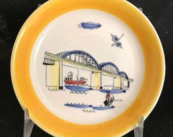 Inger Waage vintage art dish, Storstrom Bridge, Denmark