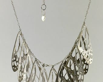 Monarch butterfly adjustable choker silver necklace