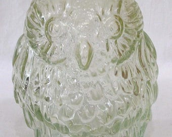 Vintage Wise Old Owl Figural Glass Bank Clear Glass