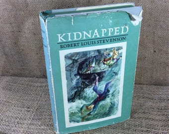 Kidnapped by Robert Louis Stevenson, the book Kidnapped 1954, hardcover 1954 book Kidnapped, book collectors gift idea, bookworm gift