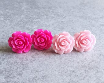 Light Pink · Hot Pink // Rose Stud Earrings - 20mm Resin Flower Cabochons, Stainless Steel Backs, Shabby Chic, Floral, Bridesmaid Jewelry