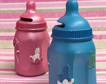 Baby Bottle Coin Bank Keepsake Favor Baby Shower Cake Topper Gift