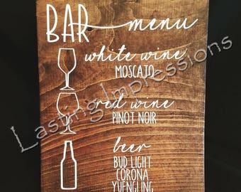 Customizable Wedding Bar Menu Sign