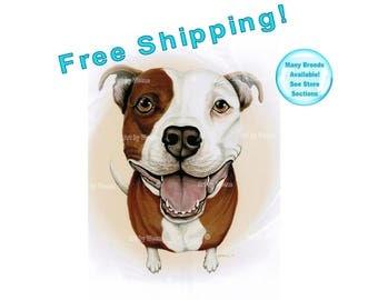 Pitbull, Pitbull Art, Pitbull Terrier, Pitbull Picture, Pitbull Gifts, Pet Portrait, Pitbull Painting, Pit Bull, Free Shipping!