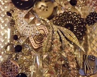 Vintage Black Silver Rhinestones Mix Baubles Jewelry Destash Inspiration Upcycle Mix Lot