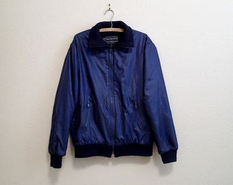 Blue Nylon Bomber Jacket Bloomingdales Lined Medium