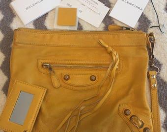 """Balenciaga """"moutard"""" Yellow clutch handbag! Rose gold hardware!"""