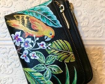 Hand painted coin purse- Pretty Bird