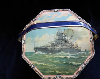 Vintage Loose-Wiles Biscuit Co. Tin With Handle US Navy Battleship USS IDAHO  Circa 1937
