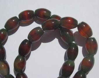 4 mineral agate 14 mm approximately (2-7 colored oval beads