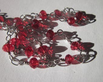 0.20 m chain silver metal trimmed (U5) red glass beads