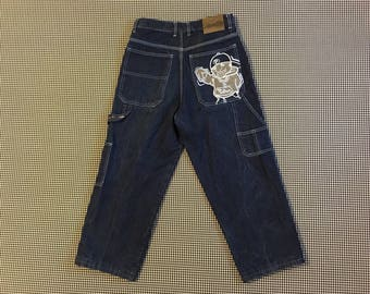 1990's, wide leg jeans, with hip hop dude embroidered on back pocket, Boys size XL