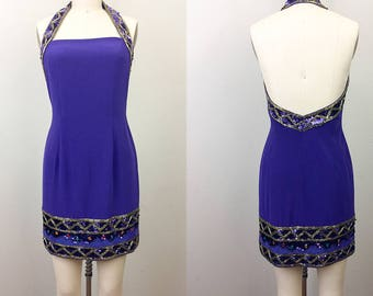 Vintage 90s Purple BEADED Body Con Halter Party Mini Dress TOOTSIES S